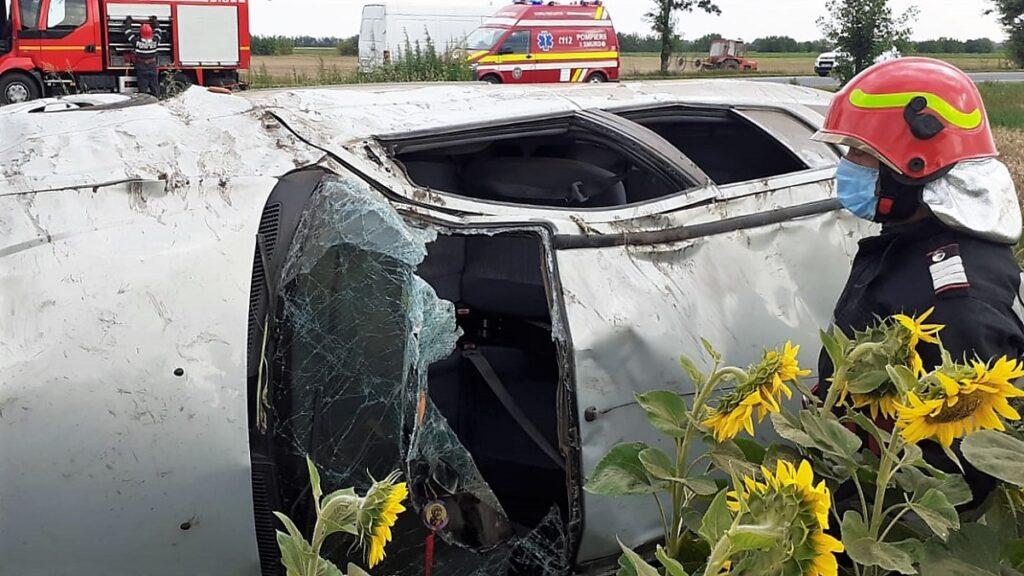 Accident rutier pe DN 2, la intrare în Coșereni. FOTO ISU Ialomița