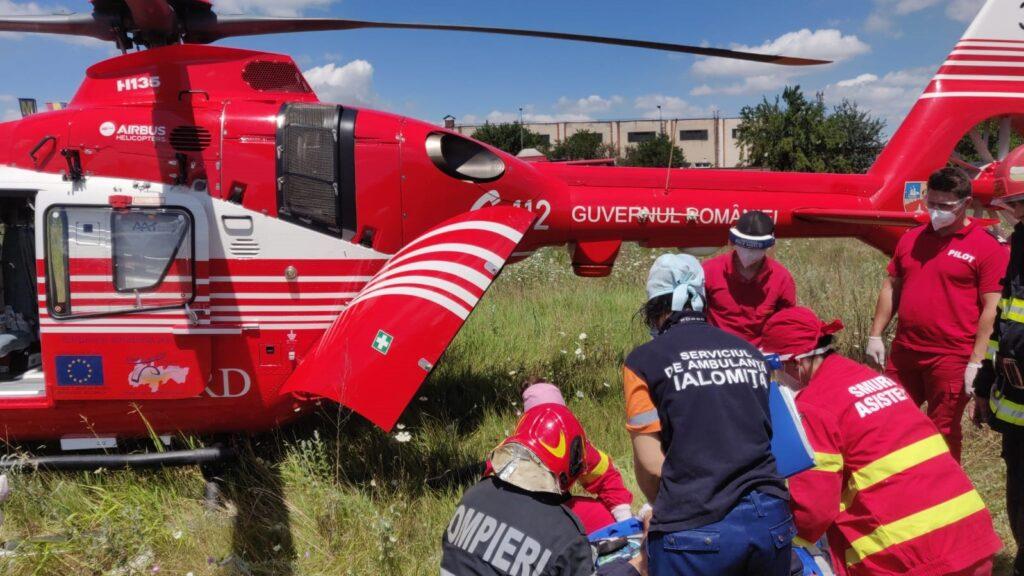 Un mort și doi răniți într-un accident rutier în municipiul Fetești. FOTO ISU Ialomița