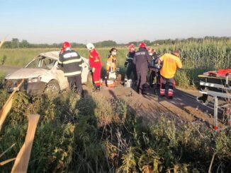 Accident rutier pe DC 27 între localitatea Roșiori și satul Chiroiu. FOTO ISU Ialomița