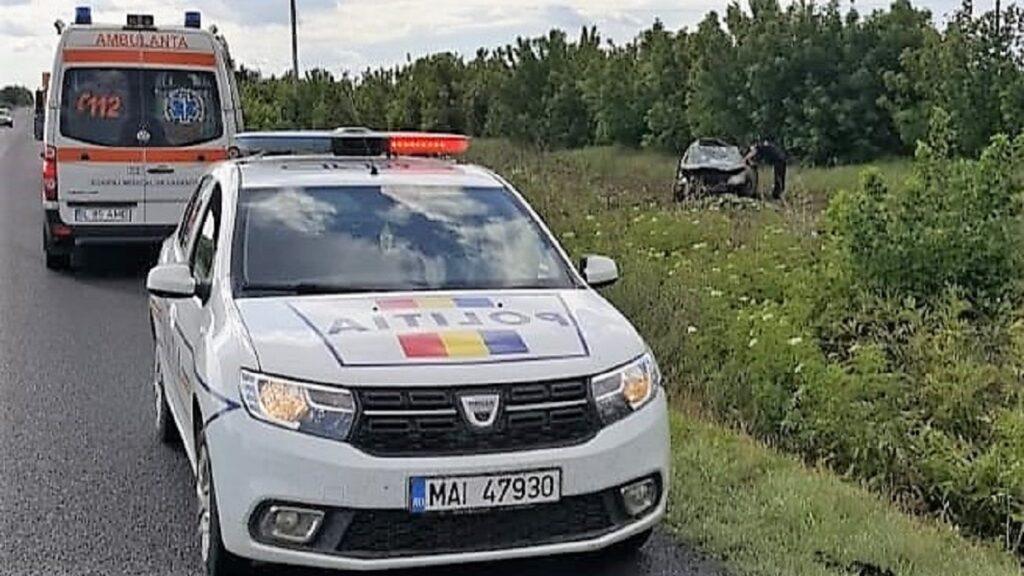 Accident de circulație soldat cu rănirea a trei copii, la ieșire din localitatea Andrășești. FOTO IPJ Ialomița