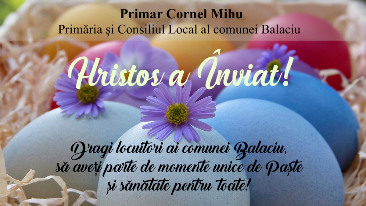 Felicitare Paste Primar Cornel Mihu Balaciu