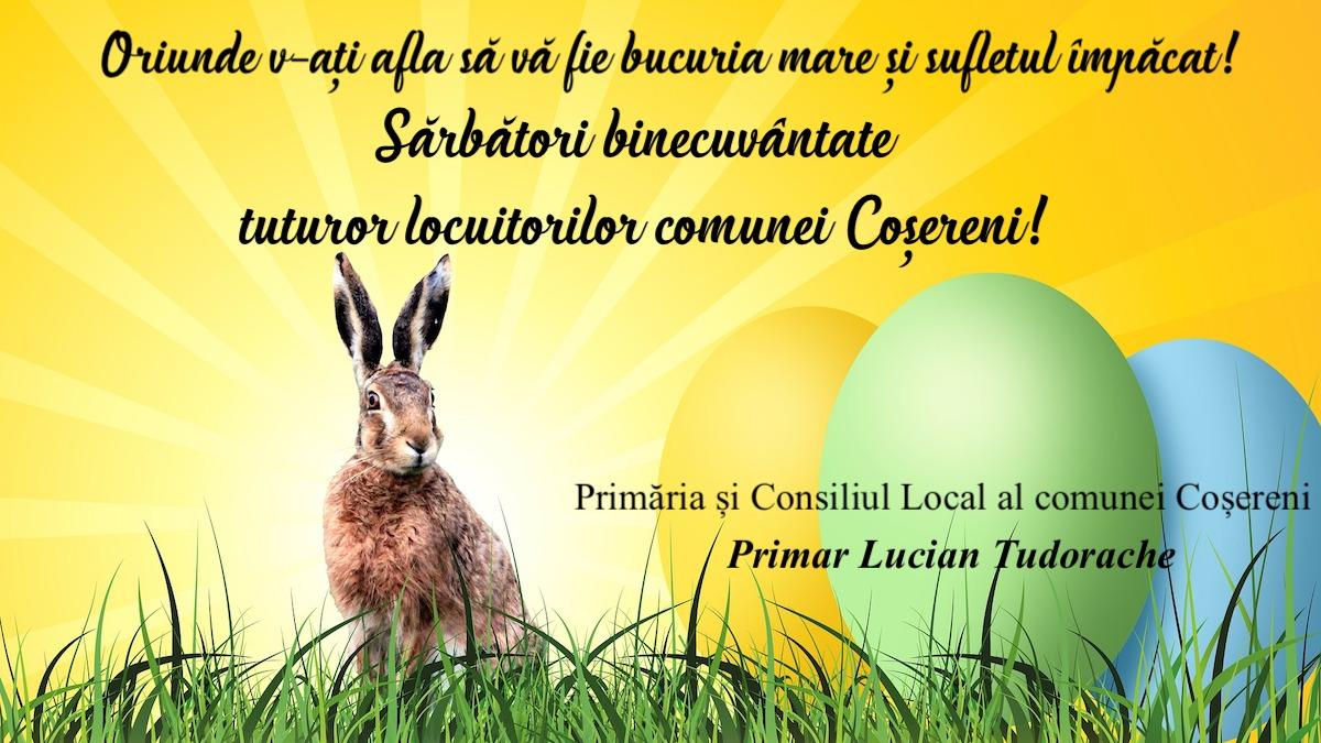 Felicitare Paste Primar Lucian Tudorache Cosereni